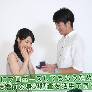 プロポーズしてもらうために結婚前の身辺調査を活用できる